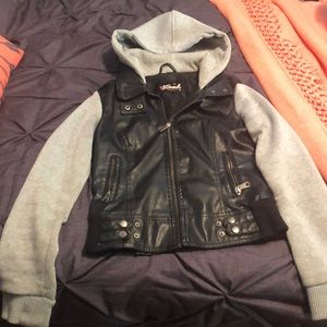 Black and gray faux leather jacket